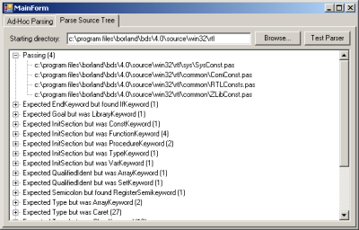Screenshot of DGrok's Parse Source Tree screen