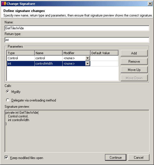 ReSharper's Change Signature dialog box