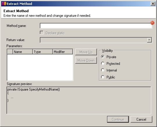 ReSharper's Extract Method dialog box