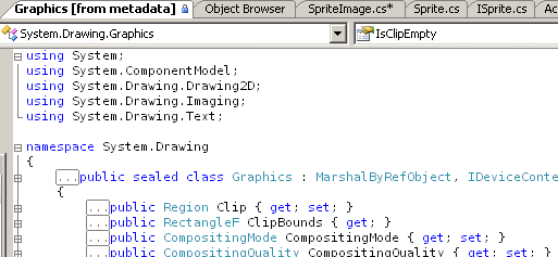 Visual Studio shows you the metadata as code, in a '[from metadata]' window