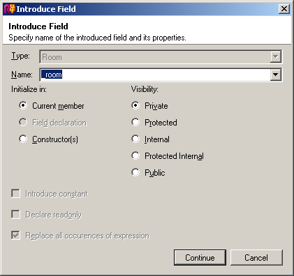 ReSharper's Introduce Field refactoring dialog, accessed through Ctrl+Shift+R