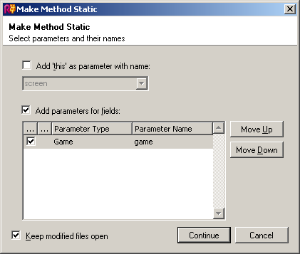 ReSharper's Make Method Static dialog box