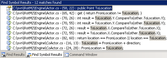 Visual Studio's Find Symbol Results window