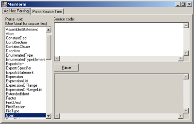 Screenshot of DGrok's Ad-Hoc Parsing screen