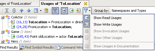 ReSharper's Find Results window, showing the filter menu and its options to show only read or write usages