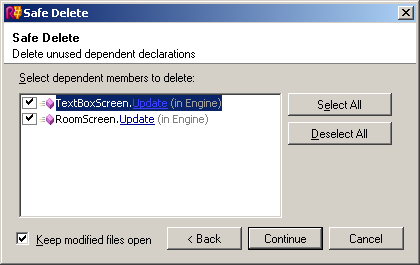 ReSharper's Safe Delete wizard, asking if you want to delete descendant members as well