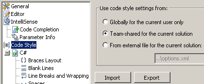 ReSharper options screen, showing option to store code-style settings in revision control