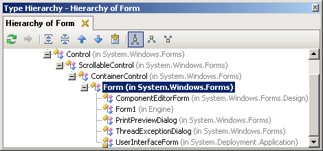 ReSharper's Type Hierarchy, showing the class hierarchy for System.Windows.Forms.Form