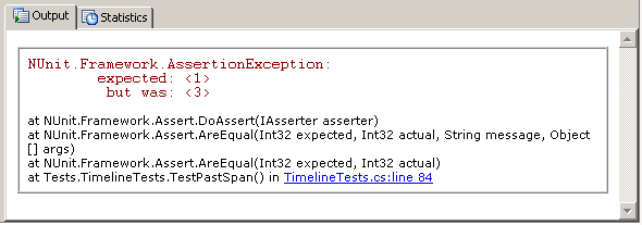 ReSharper unit test runner, showing a test failure message and hyperlinked call stack