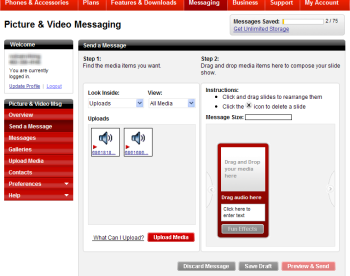 Screenshot of the Picture & Video Messaging page after uploading sound files